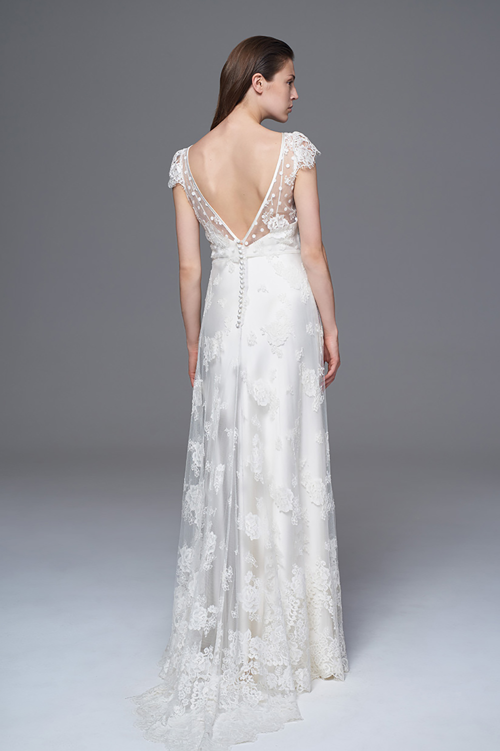 THE PEONY FRENCH LACE AND POLKA DOT V FRONT DRESS WITH PLUNGING BACK. BRIDAL WEDDING DRESS BY HALFPENNY LONDON