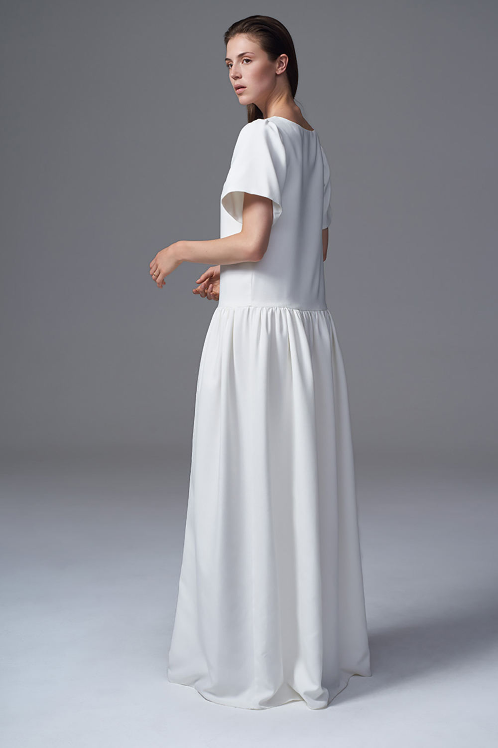 THE STELLA MATT CREPE BOXY DROPPED WAIST DRESS. BRIDAL WEDDING DRESS BY HALFPENNY LONDON