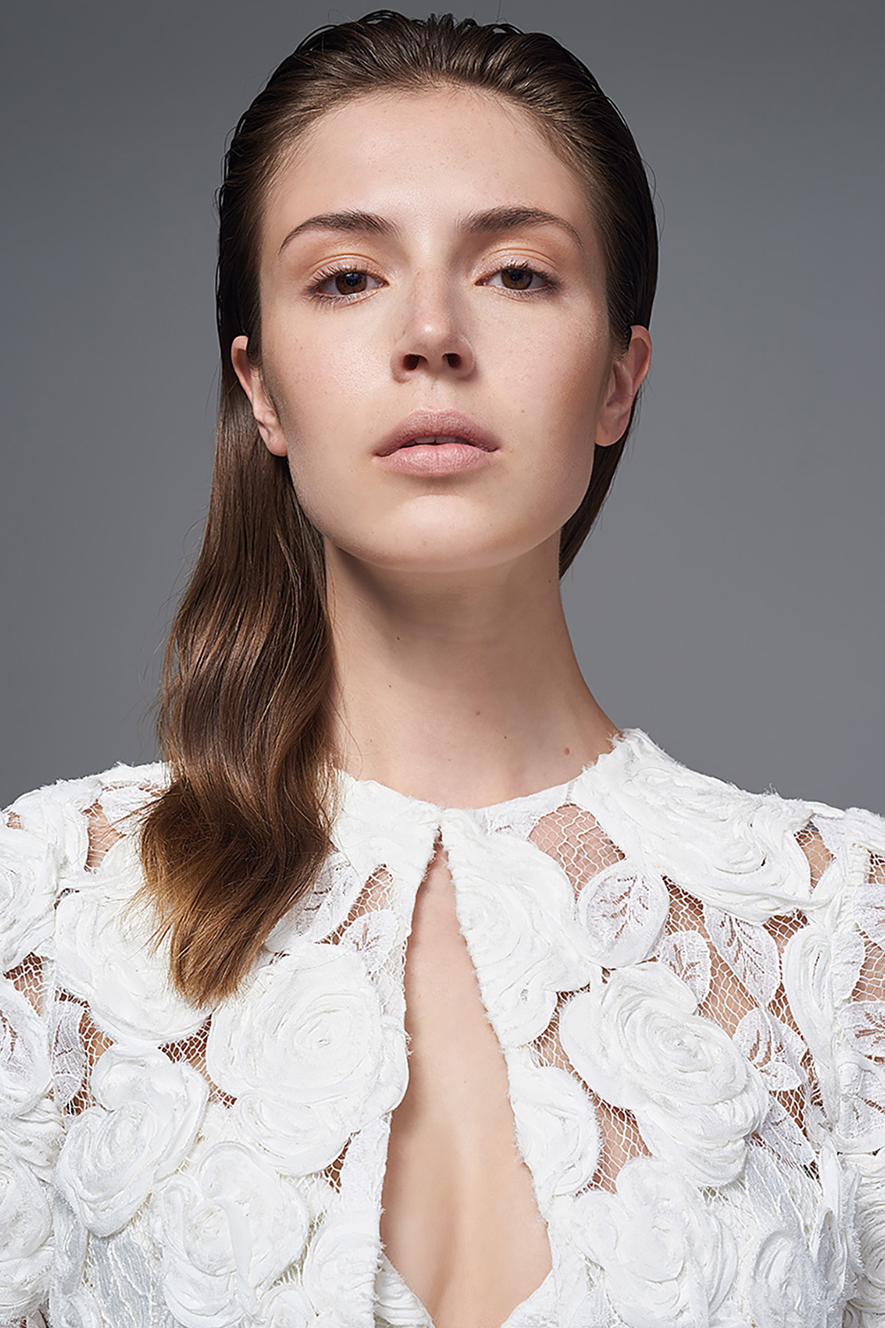 THE ROSA APPLIQUE BOLERO. BRIDAL WEDDING DRESS BY HALFPENNY LONDON