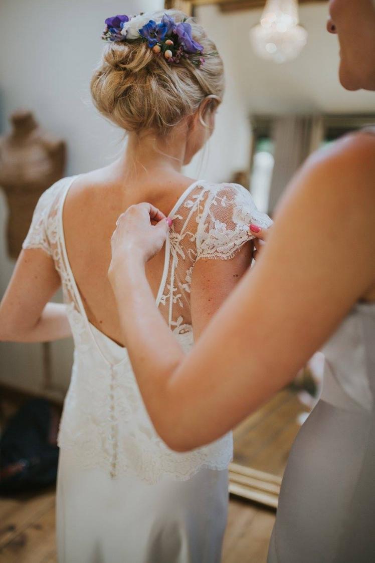 Beautiful bride Michelle wears a wedding dress by Halfpenny London
