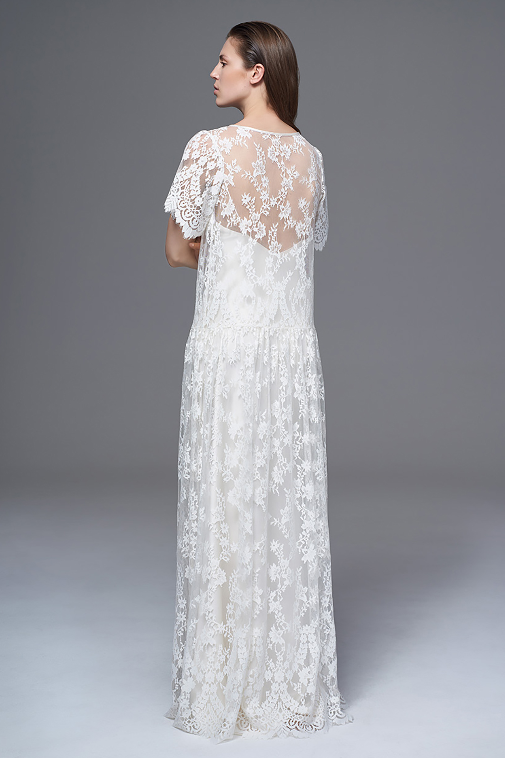 THE STELLA SHEER LACE BOXY AND DROPPED WAIST DRESS WITH THE CLASSIC IRIS SLIP. BRIDAL WEDDING DRESS BY HALFPENNY LONDON