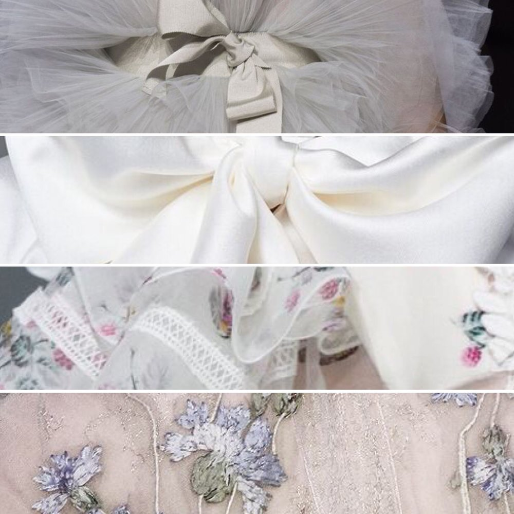 Loving the lilacs... Embroidery, bows, frills.