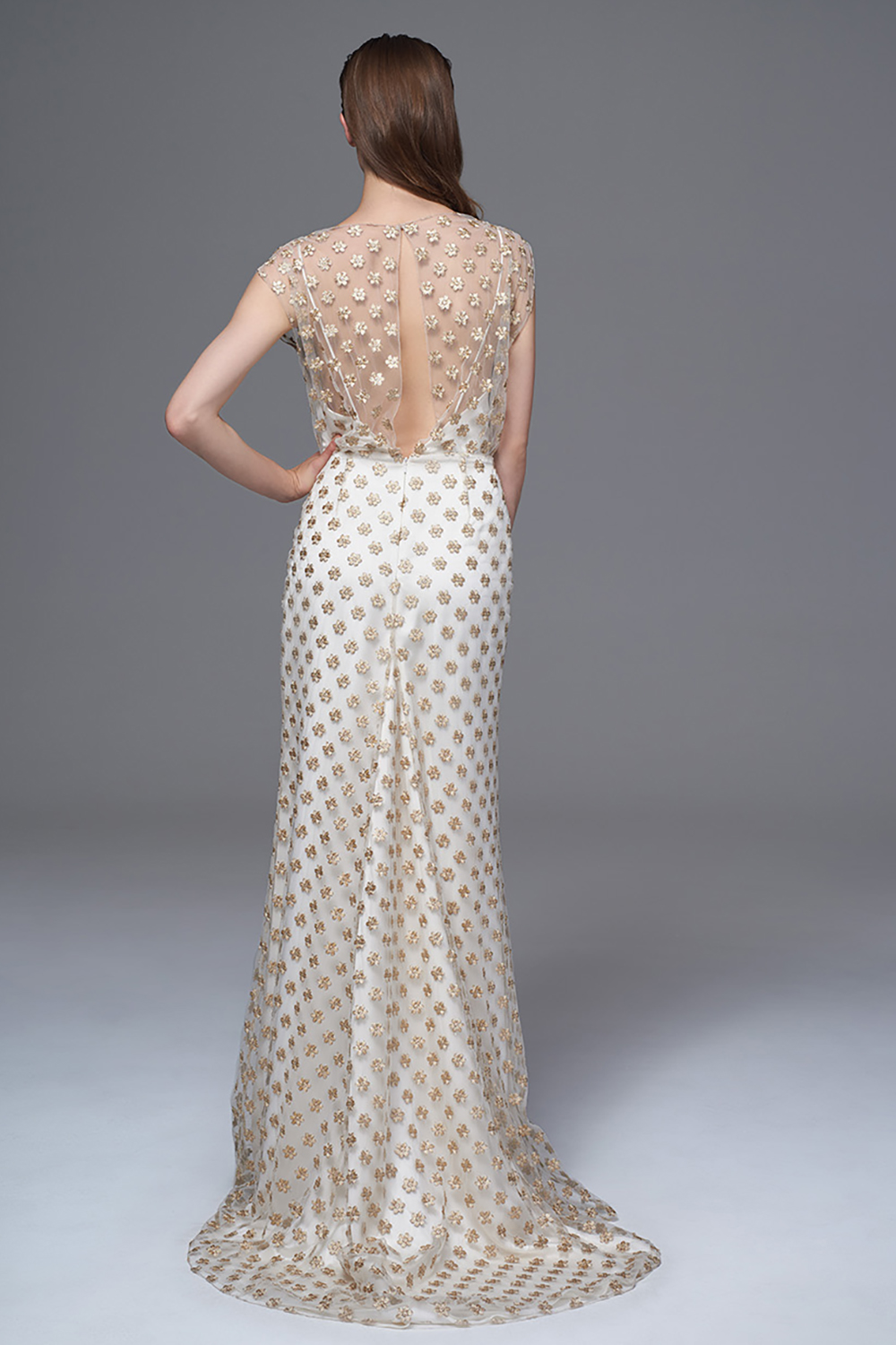 THE CHLOE GOLD FLOWER DRESS WITH SLASH NECK AND GODET TRAIN. BRIDAL WEDDING DRESS BY HALFPENNY LONDON