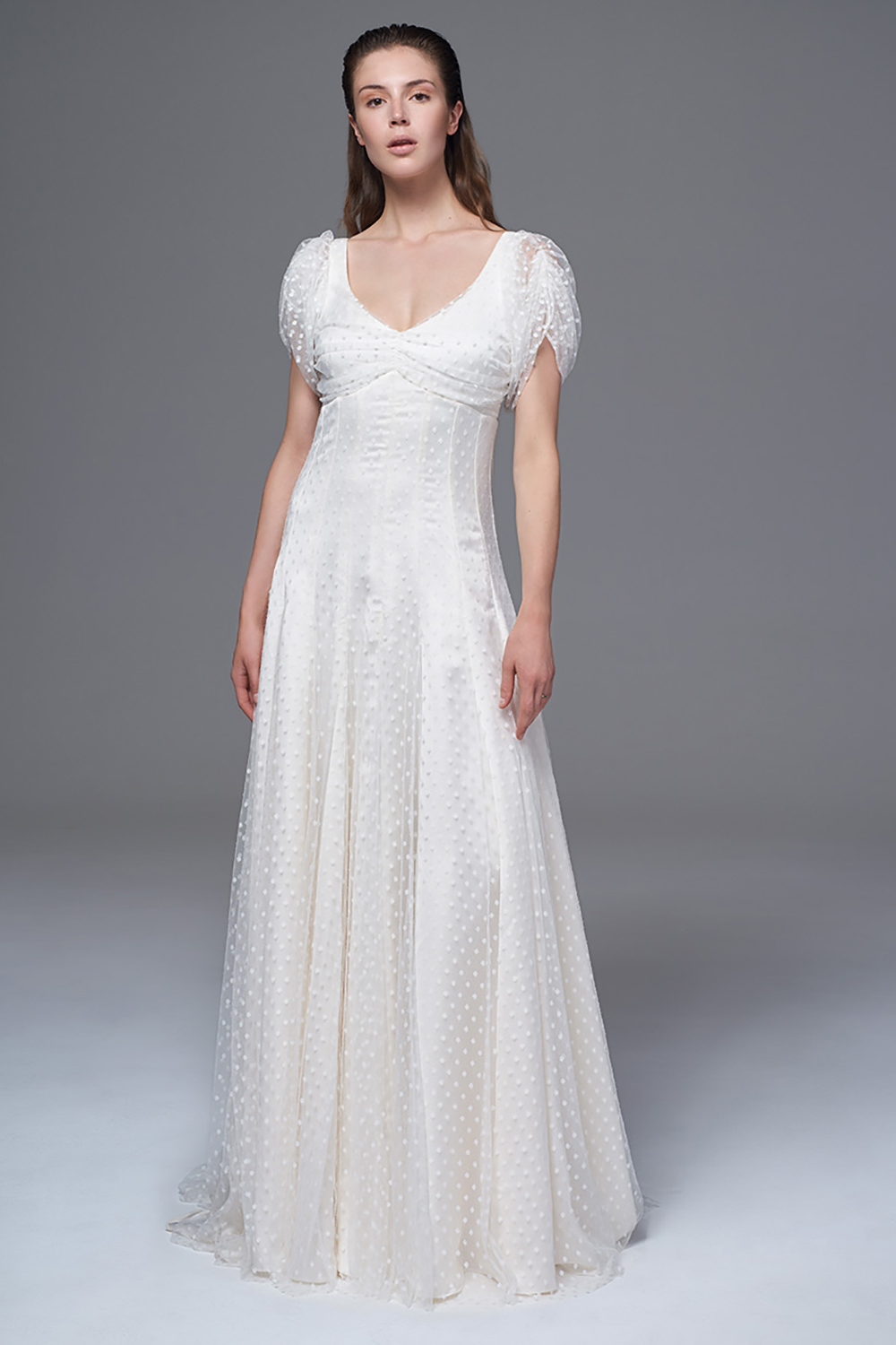 THE KATE MOSS SPOTTY TULLE DRESS WITH SOFT SLEEVES AND BUTTON DETAILING. BRIDAL WEDDING DRESS BY HALFPENNY LONDON