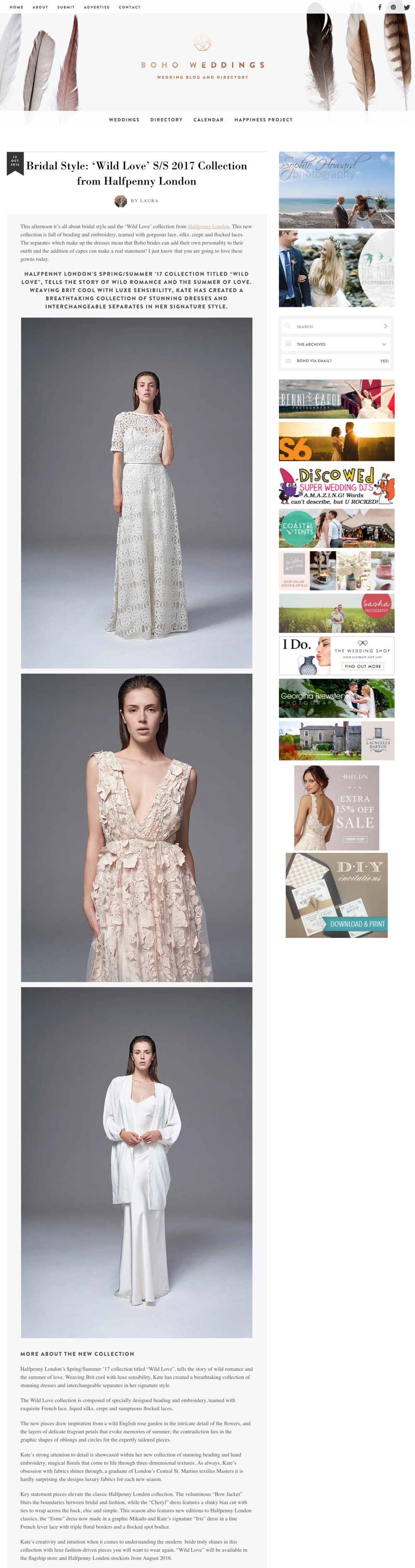 BOHO WEDDINGS - Bridal Style   Wild Love  S S 2017 Collection from Halfpenny London   Boho Weddings™ For the Boho Luxe Bride.png
