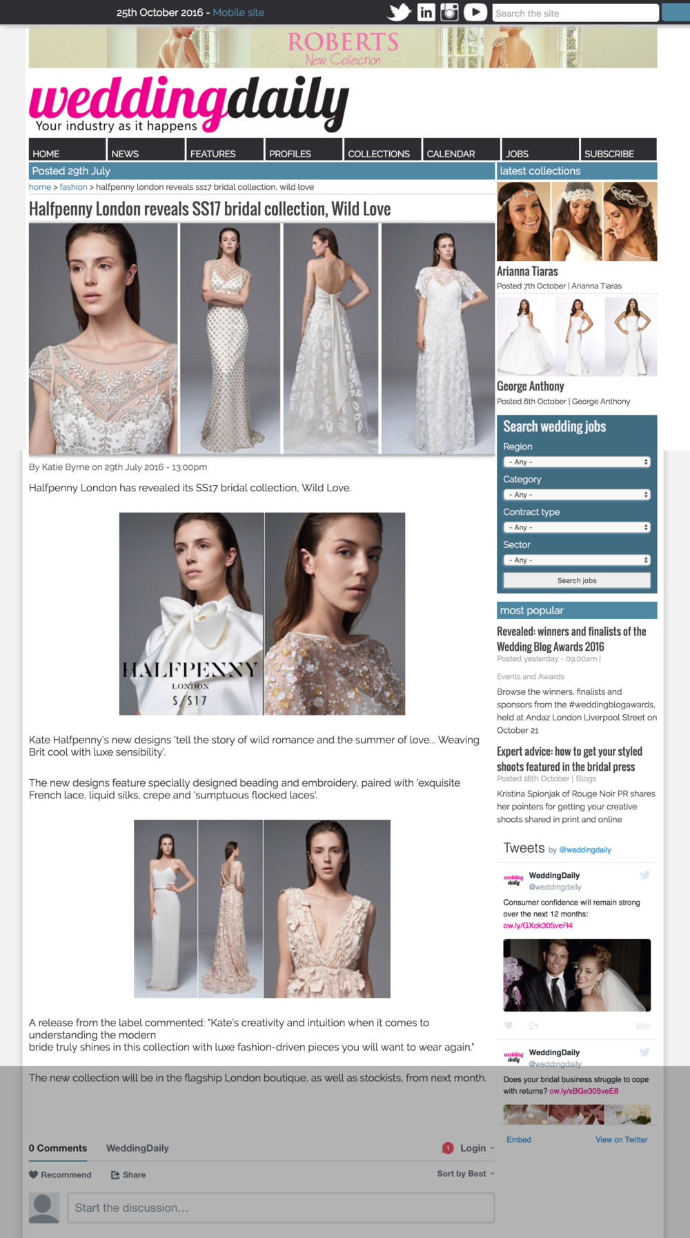 WeddingDaily -  Halfpenny London reveals SS17 bridal collection  Wild Love.png