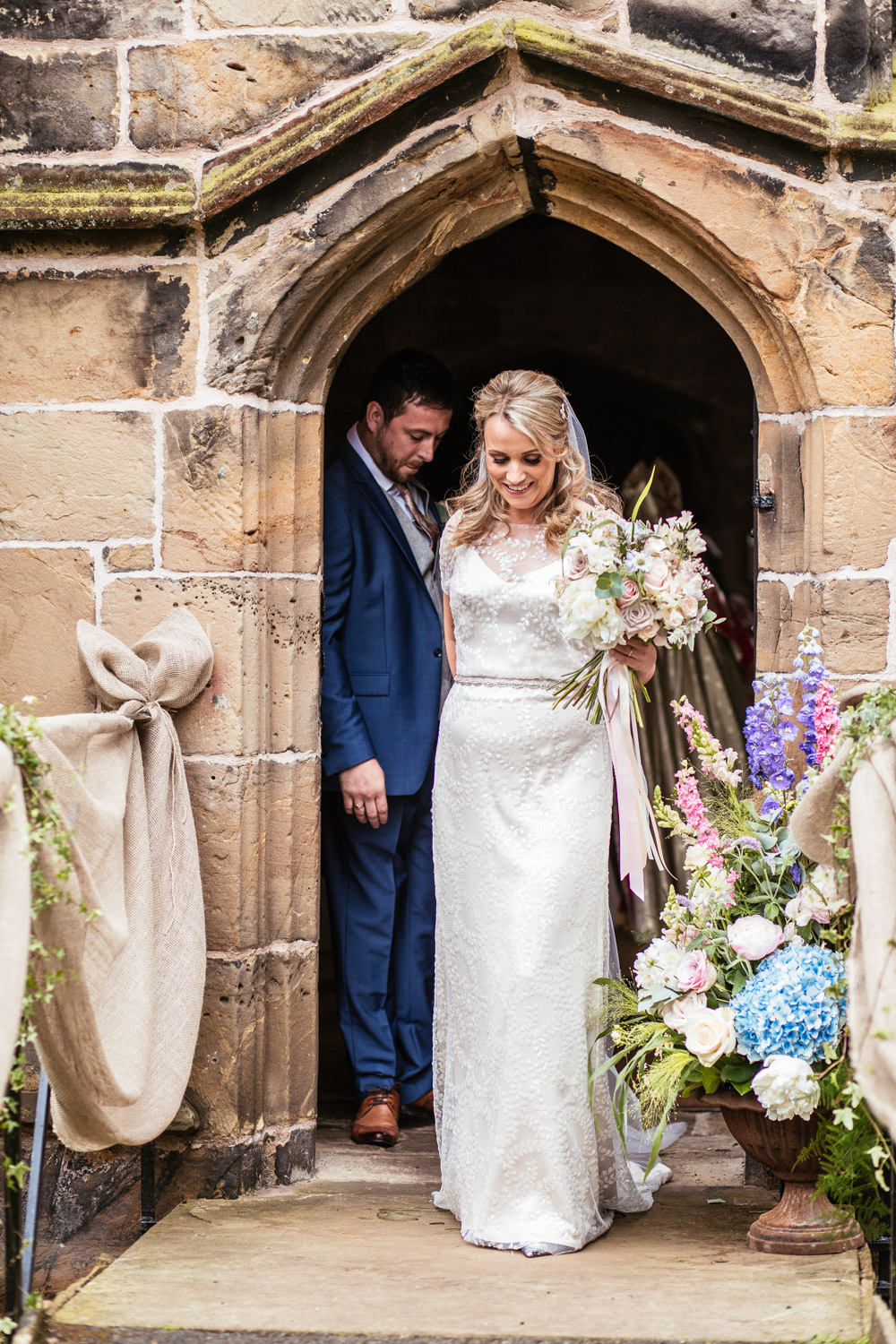 Beautiful bride Victoria wore a sequin wedding dress by Halfpenny London