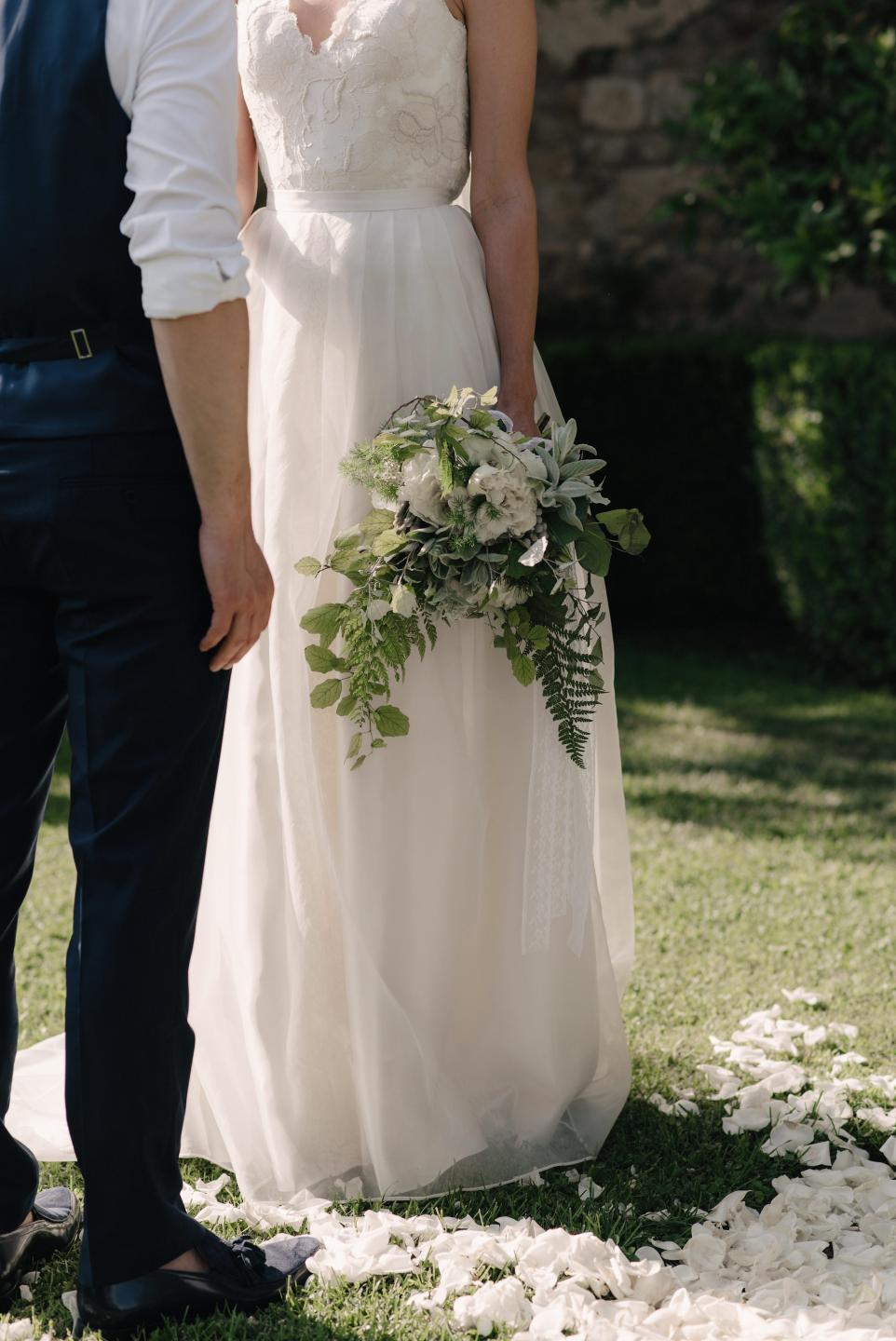 Beautiful bride Fran wears a wedding dress by Halfpenny London