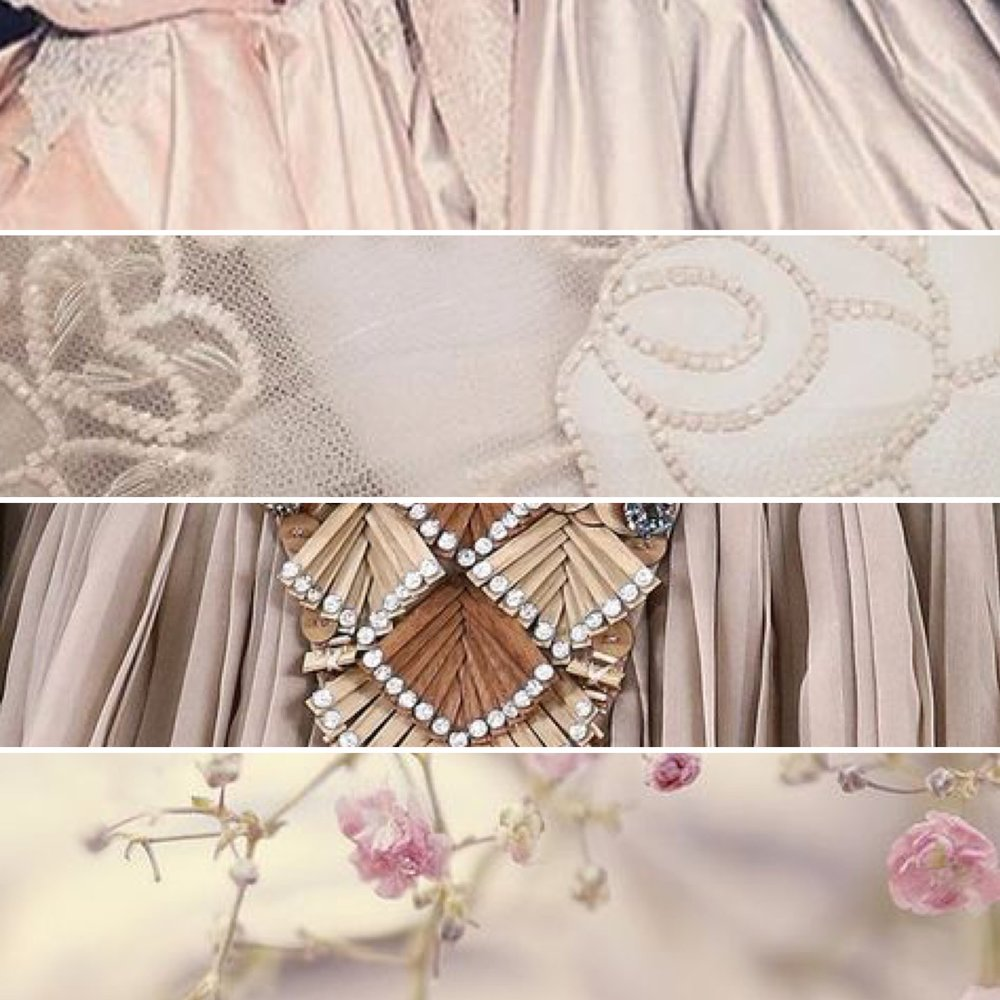 Duchess satin volume, intricately embroidered leather accents and delicate blooms.