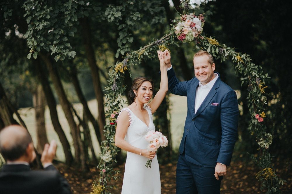 Beautiful bride Vivien wears a wedding dress by Halfpenny London