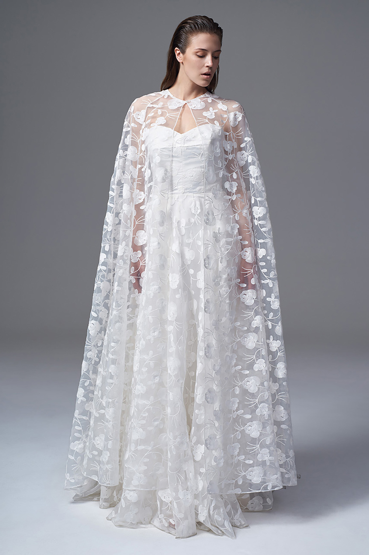 THE ESME CAPE AND ESME STRAPLESS DRESS IN FULL EMBROIDERED ORGANZA. BRIDAL WEDDING DRESS BY HALFPENNY LONDON