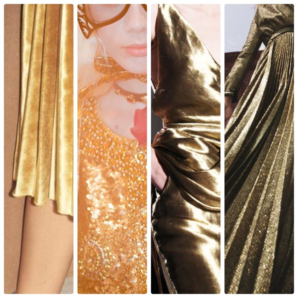 Golden metallics, sumptuous velvet and slinky silhouettes.  Gorgeous!