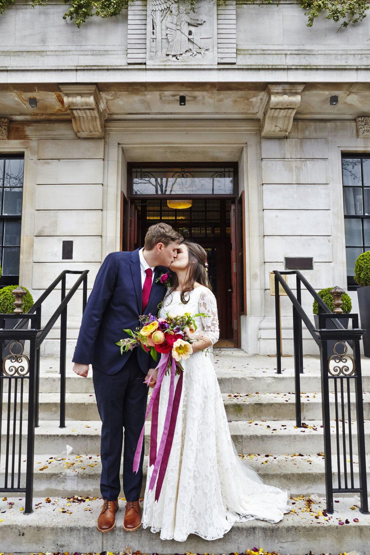 Beautiful bride Lizzy wears a wedding dress by Halfpenny London