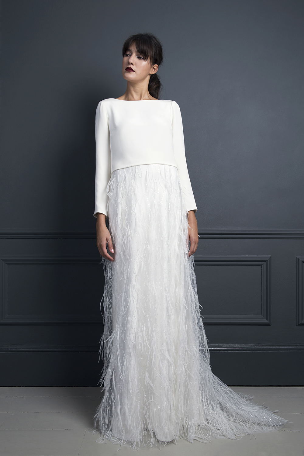 LAURA DRAPE TOP & MARIBOU SKIRT | WEDDING DRESS BY HALFPENNY LONDON