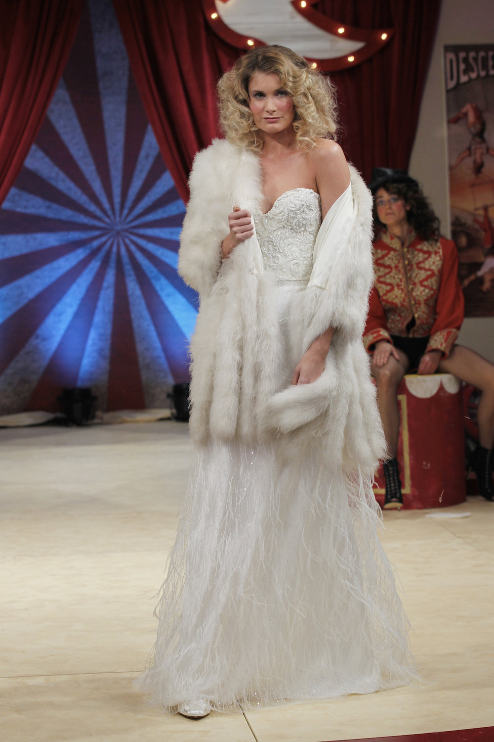 Dita beaded corset & Maribou skirt and jacket | Halfpenny London wedding dress on the Brides the Show catwalk