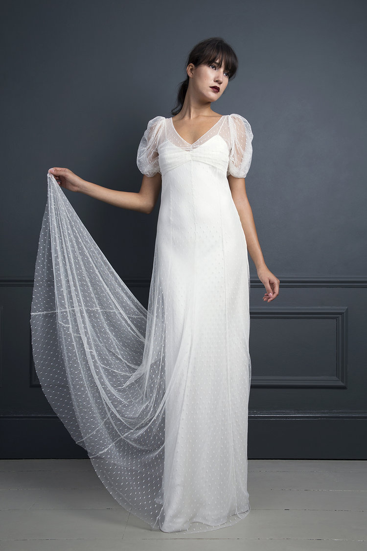 The kate moss dress our dress of the week halfpenny london the kate moss spotty tulle dress with soft sleeves and button detailing bridal wedding dress junglespirit Gallery