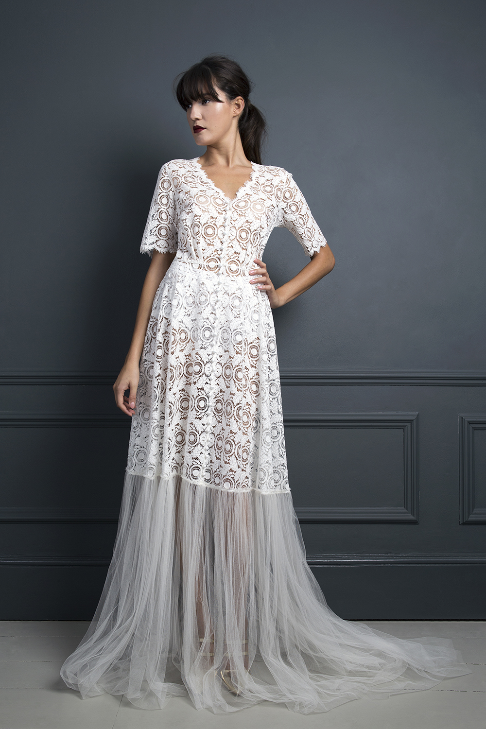 Sheer lace Morgan shirt dress worn over the Iris slip | Wedding dress by Halfpenny London