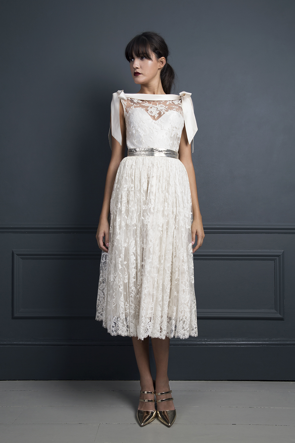 Christabelle skirt and Irene top | Tea length, short wedding dress by Halfpenny London