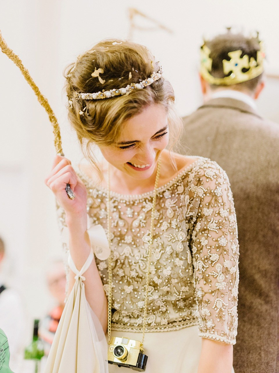 Beautiful Thea wore a wedding dress and bridal separates by Halfpenny London