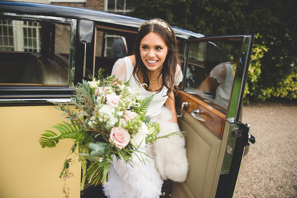 Beautiful bride Natasha wears a wedding dress by Halfpenny London