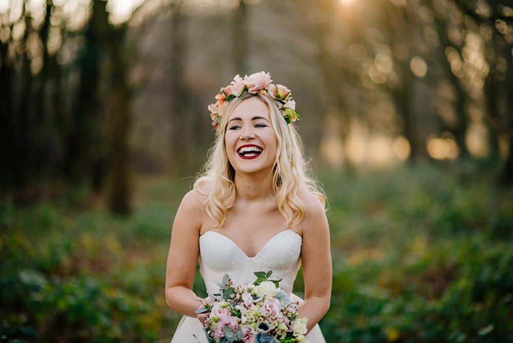 Beautiful bride Alice wore bridal separates by Halfpenny London | Stunning golden hour portraits for a winter wedding