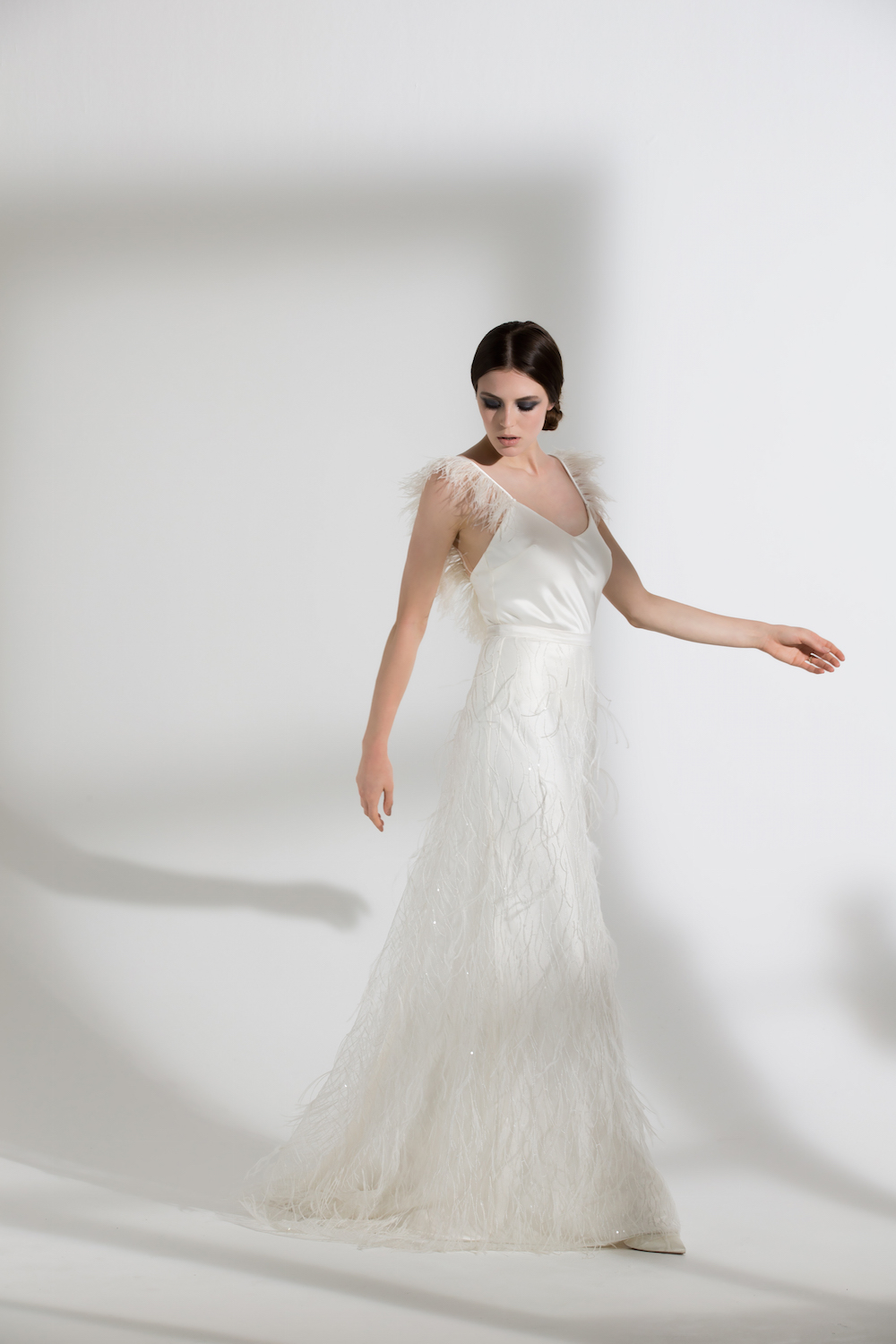 IRIS OSTRICH CAMISOLE & MARIBOU SKIRT | WEDDING DRESS BY HALFPENNY LONDON
