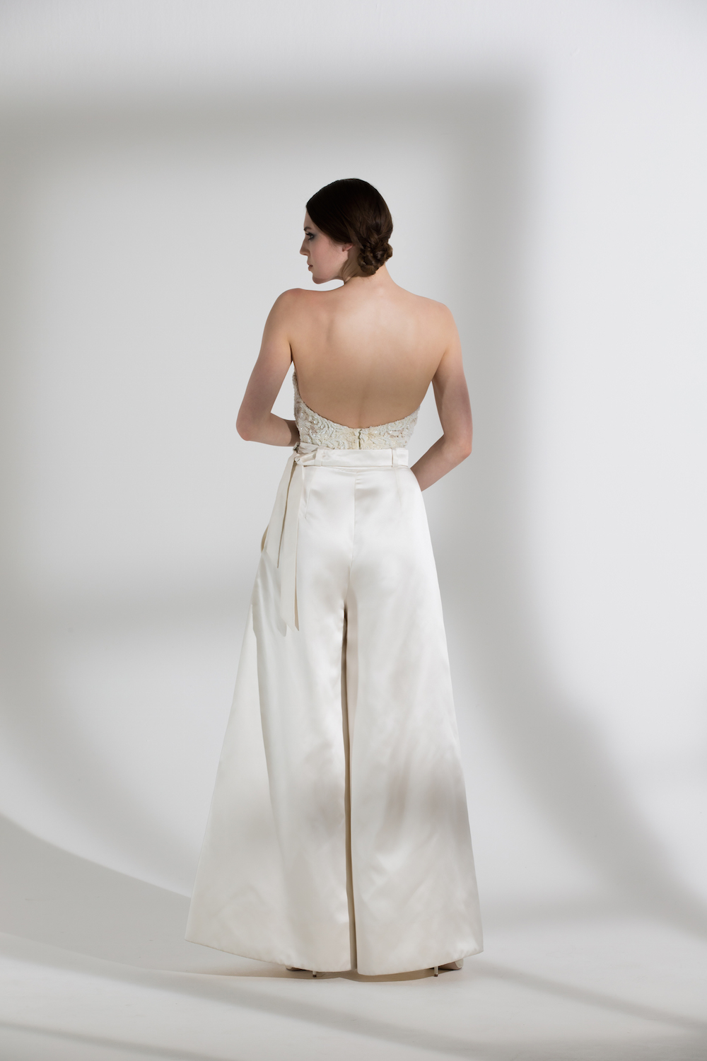 MARLENE TROUSERS & BEADED DITA CORSET | WEDDING DRESS BY HALFPENNY LONDON
