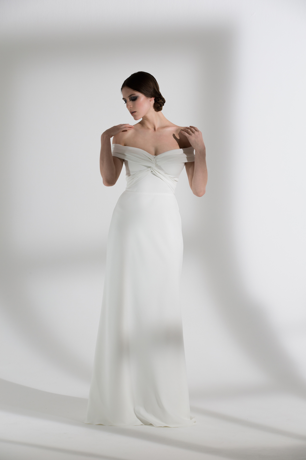Daffodil | Off the shoulder wedding dress by Halfpenny London