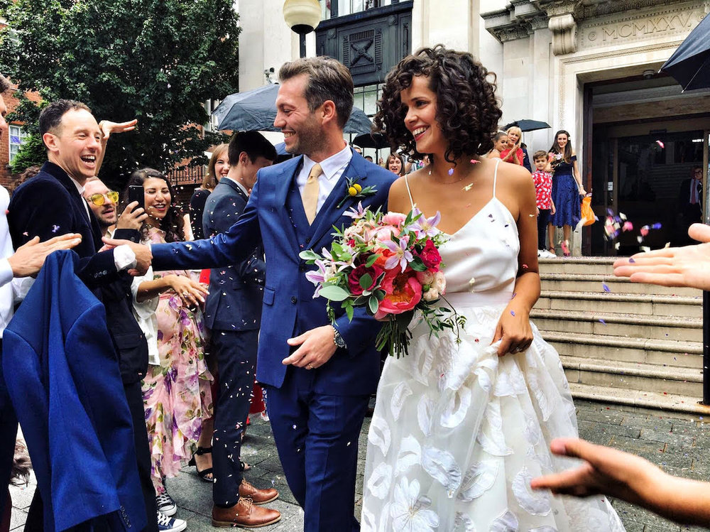 Beautiful bride Samantha wore a wedding dress by Halfpenny London
