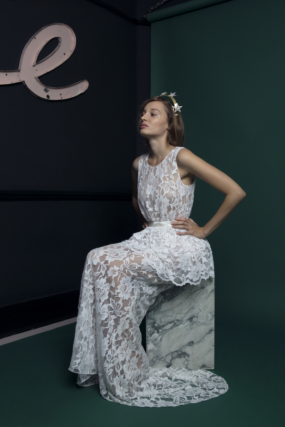 ANCHOR DRESS WITH PEPLUM | WEDDING DRESS BY HALFPENNY LONDON