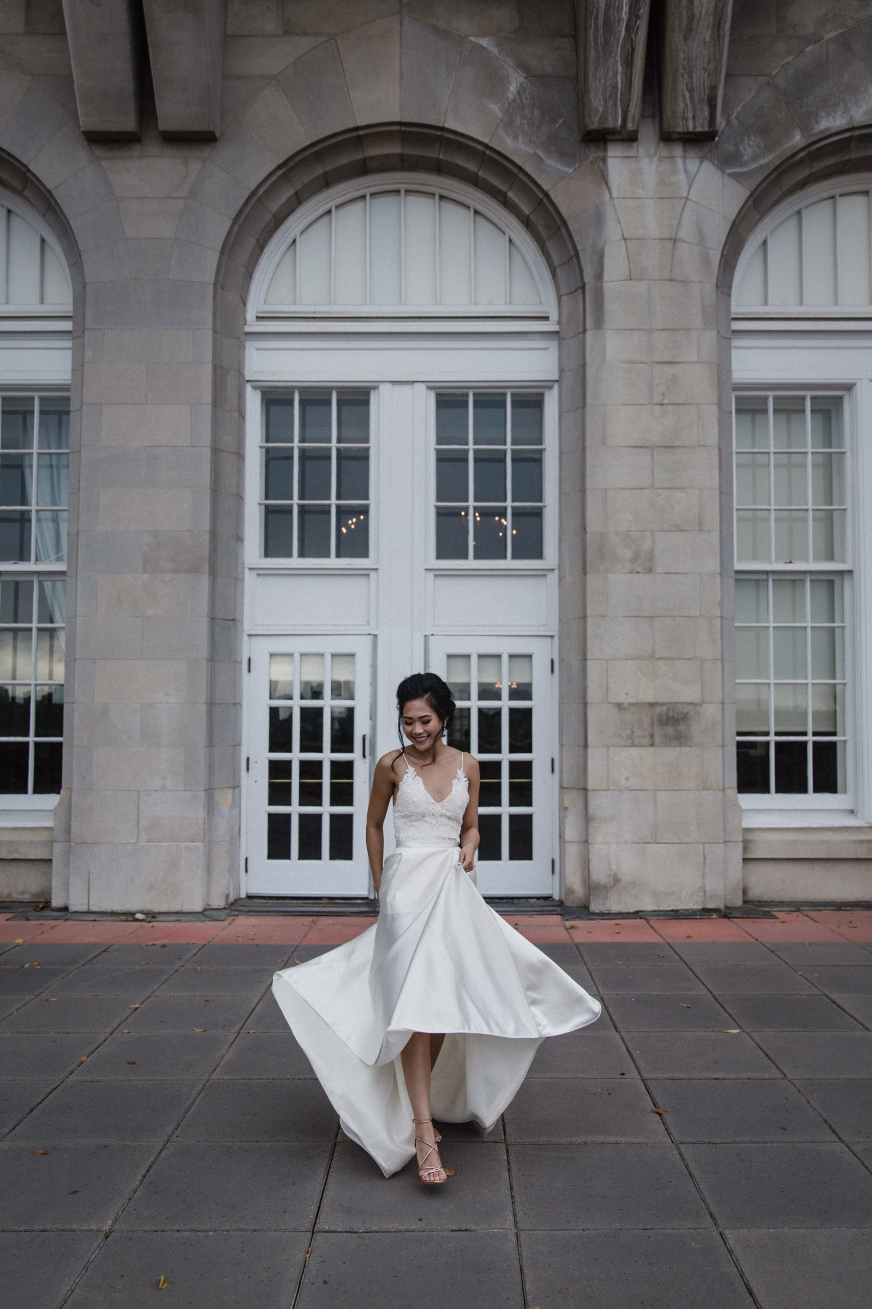 5ef747b5eb Beautiful bride Carmelle wore a Halfpenny London skirt from Net-A-Porter