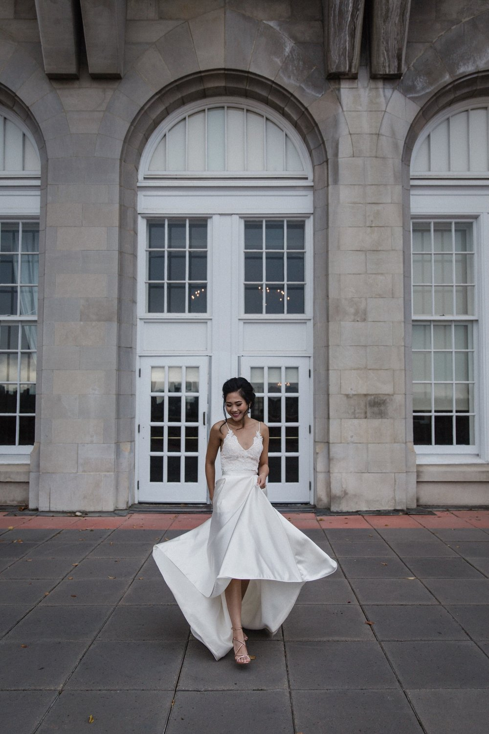 Beautiful bride Carmelle wore a Halfpenny London skirt from Net-A-Porter