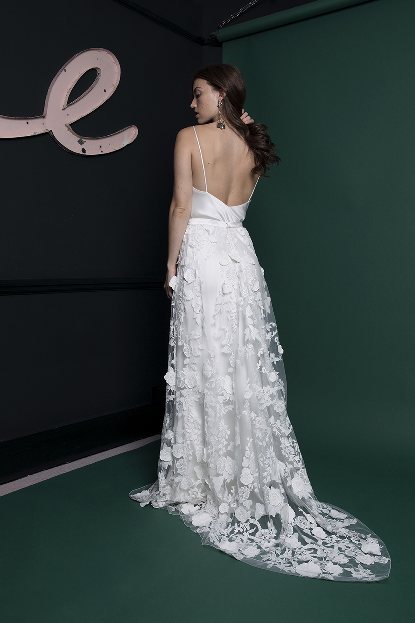 Bay skirt worn over Iris slip | Wedding dress by Halfpenny London