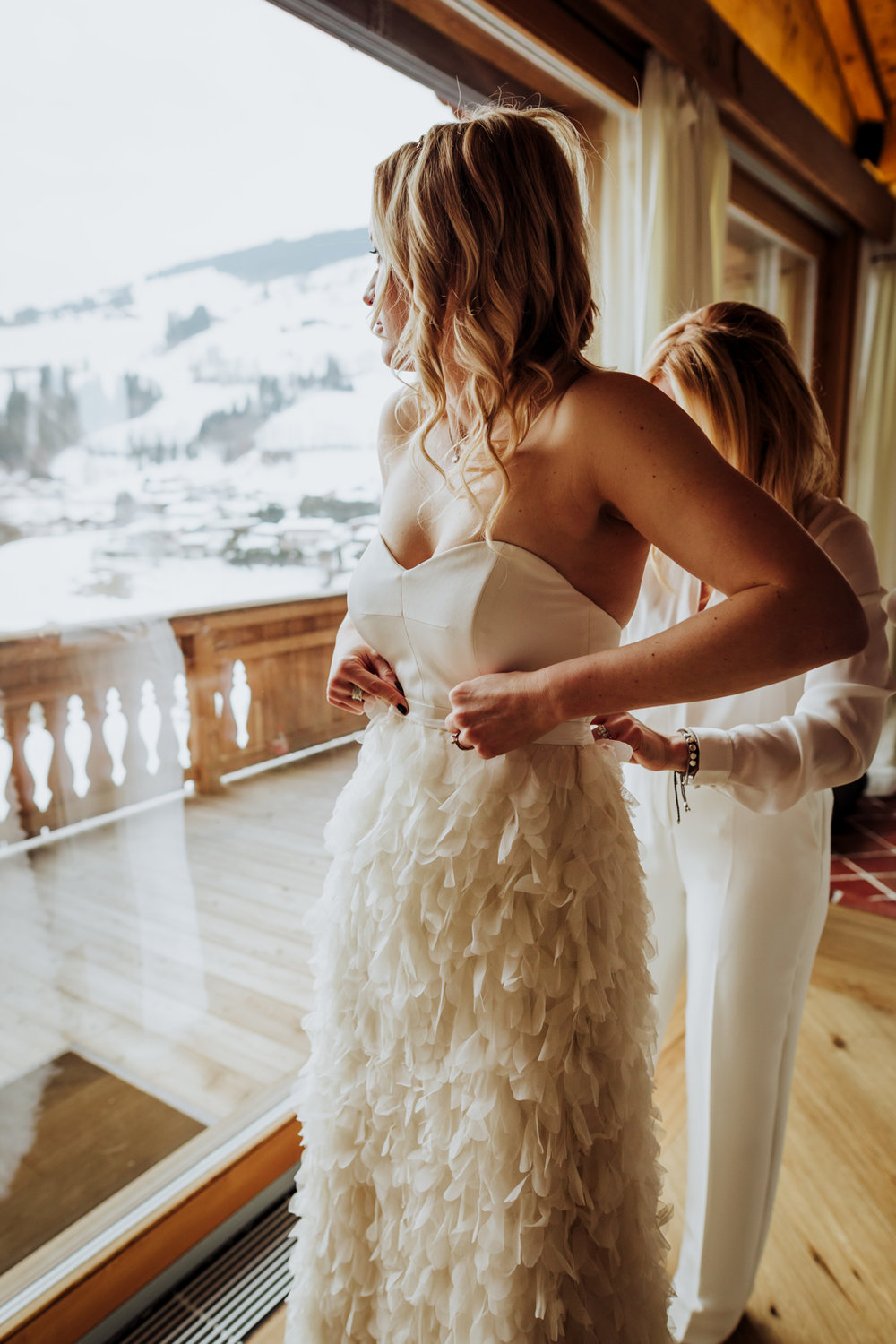 Beautiful bride Katja wore a wedding dress by Halfpenny London for her winter wedding