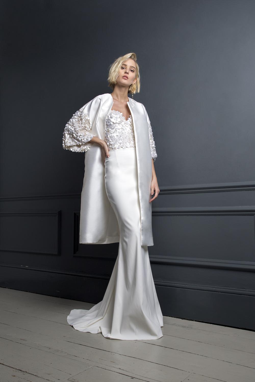 DUFFY COAT, ALEXANDER CORSET & TOBI SKIRT | WEDDING DRESS BY HALFPENNY LONDON