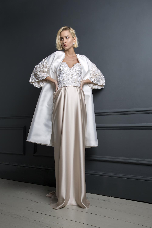 DUFFY COAT , ALEXANDER CORSET & JAMES SKIRT | WEDDING DRESS BY HALFPENNY LONDON