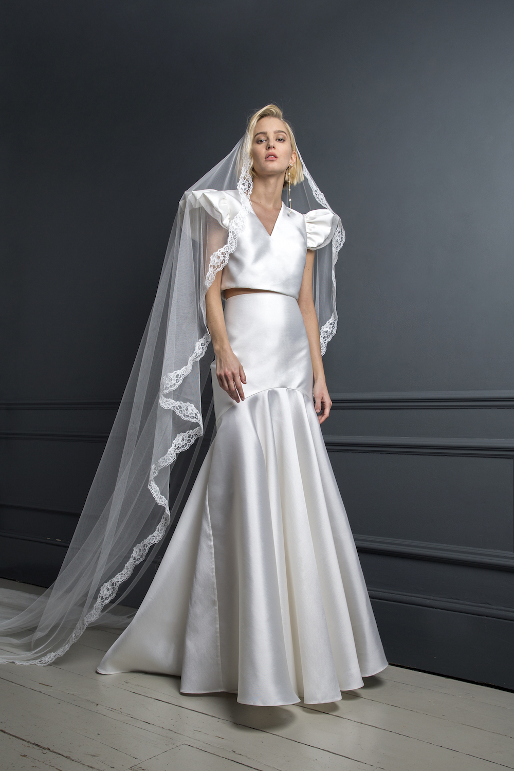 GEORGE TOP & SKIRT STYLED WITH LACE BOARDER VEIL | WEDDING DRESS BY HALFPENNY LONDON