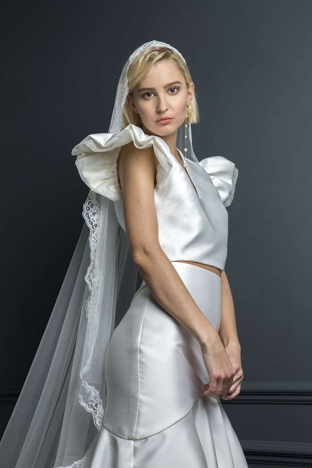 GEORGE TOP & SKIRT WORN WITH LACE BOARDER VEIL | WEDDING DRESS BY HALFPENNY LONDON