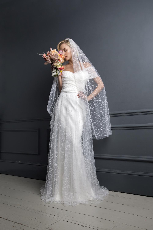 SCOTTY DRESS & FLOCKED SPOT VEIL | WEDDING DRESS BY HALFPENNY LONDON