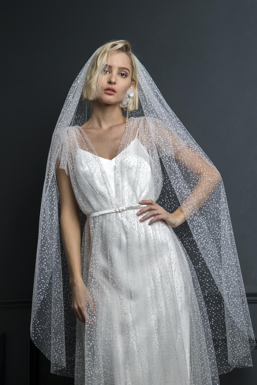 ZIGGY DRESS & FLOCKED SPOT VEIL | WEDDING DRESS BY HALFPENNY LONDON