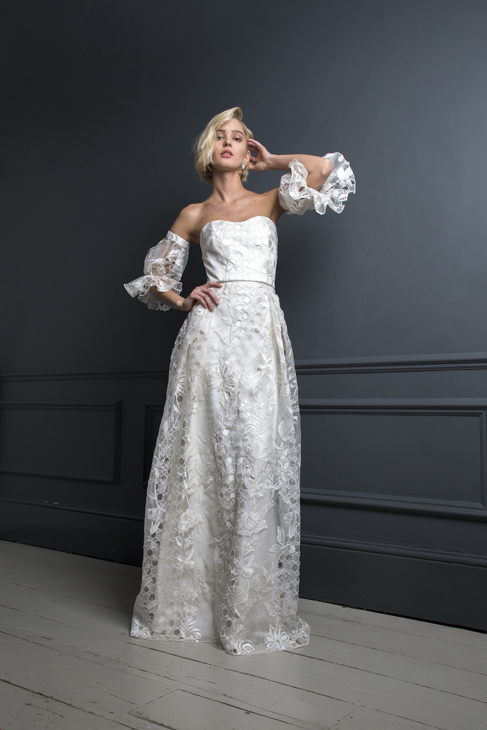 SAMSON CORSET , HUGO SLEEVES & SAMSON SKIRT | WEDDING DRESS BY HALFPENNY LONDON