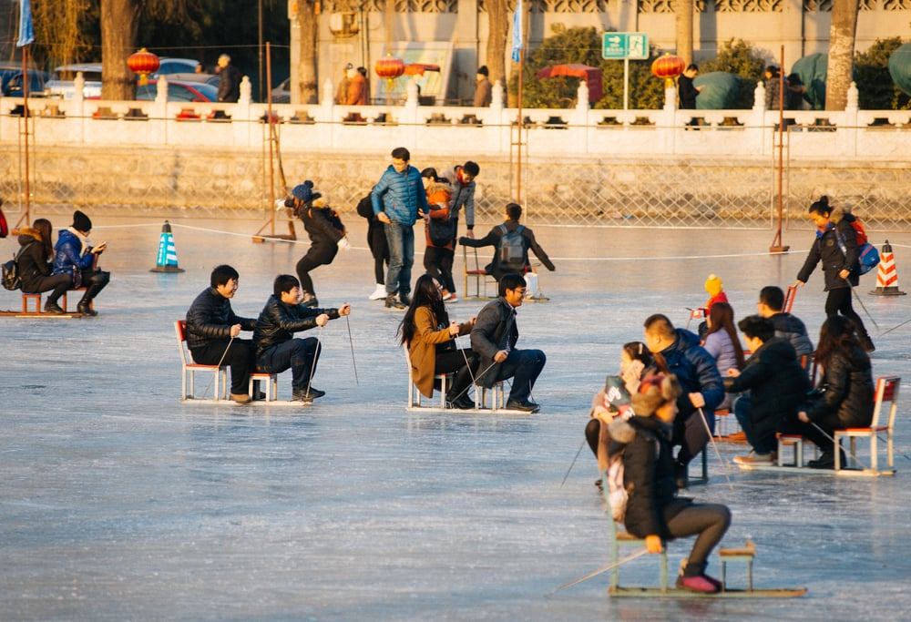 "Tons of people would ""line up"" (I use quotes because standing in line is not something people actually do here in China. It was more like piling up in front of the ticket window) to skate and play in the ice."