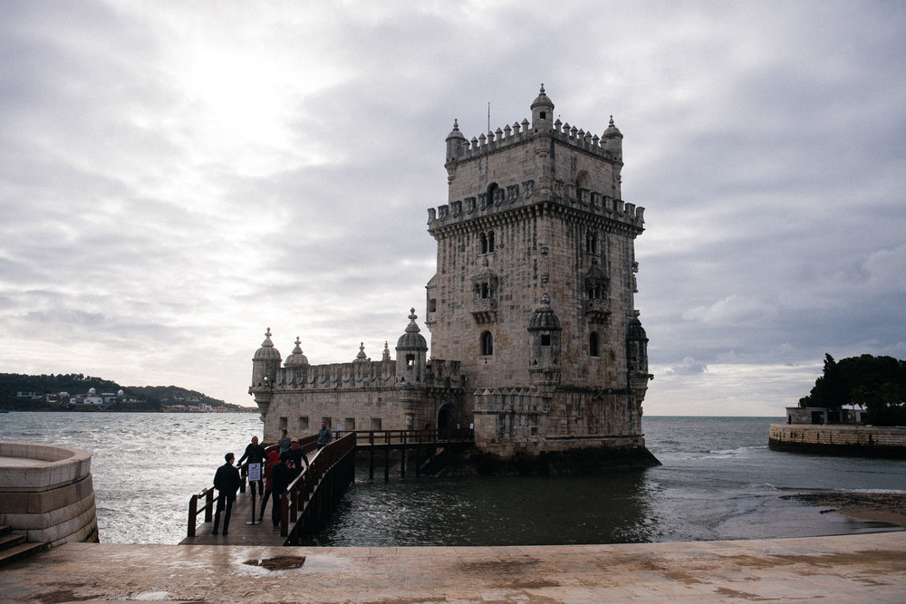The Torre de Belém used to be surrounded completely by water. Today with modern changes it is almost at shore.