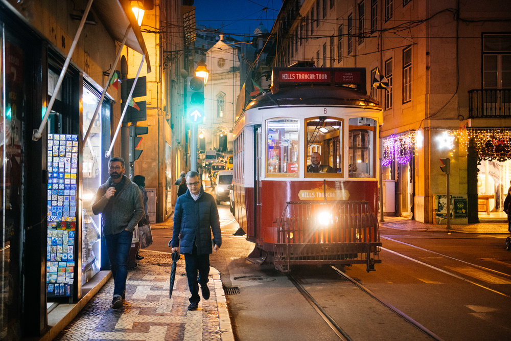 Tram crosses downtown Lisbon.