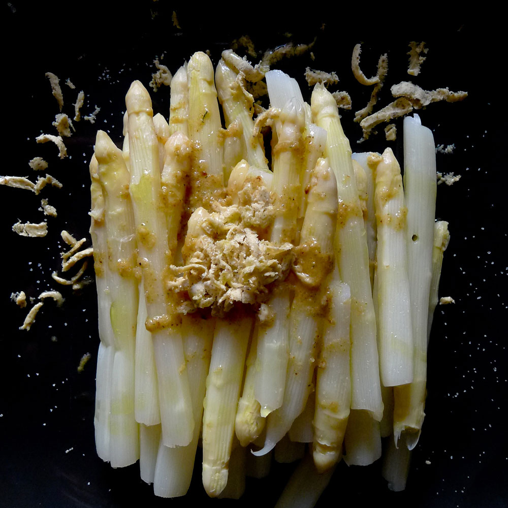 White asparagus with compound fennel butter.