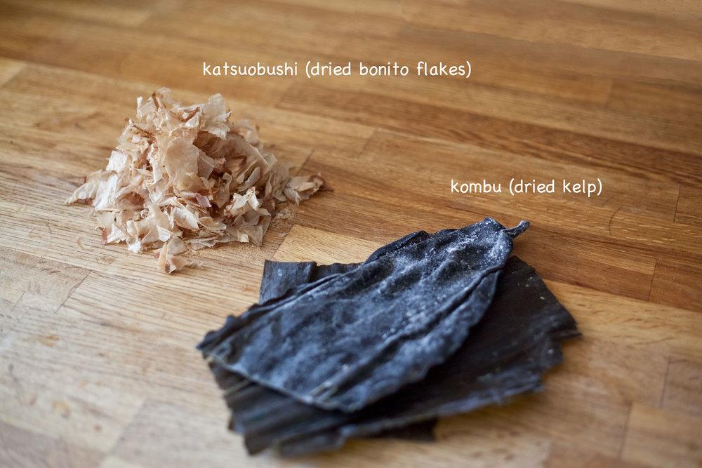 Ingredients for katsuobushi dashi stock.