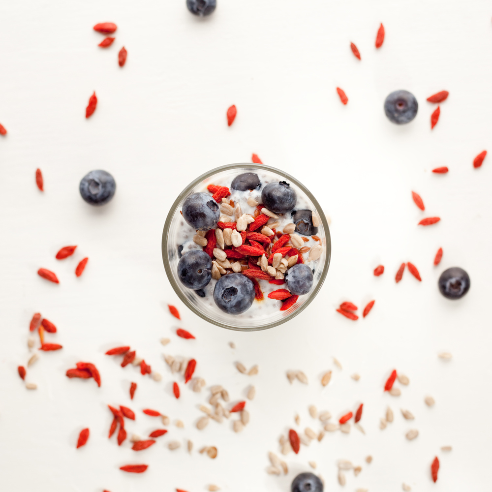 Kefir with Chia Seeds, Sunflower Seeds, Goji Berries, and Blueberries