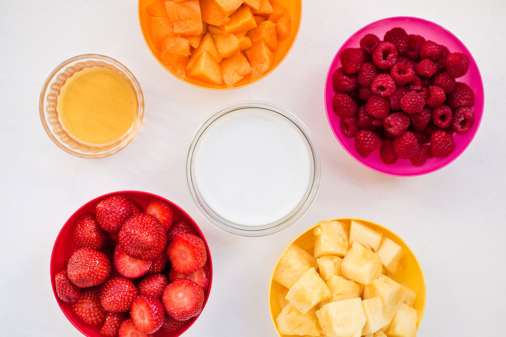 Fruit flavors, coconut milk, and agave syrup.