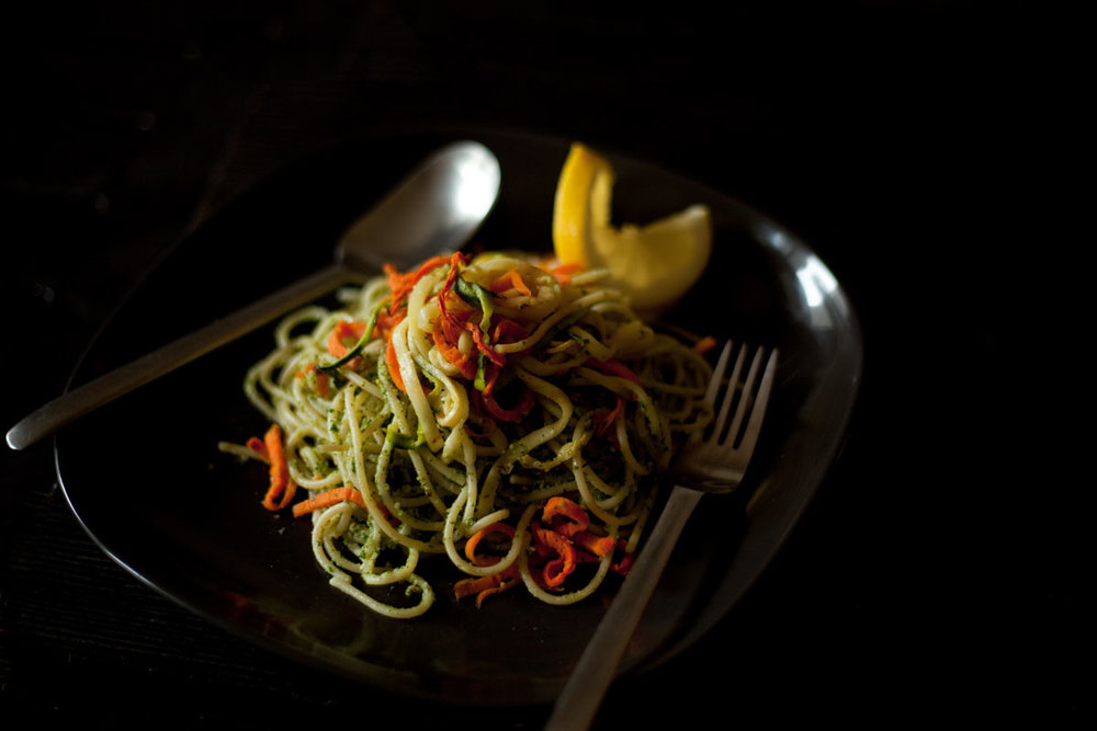 Pasta with kale pesto, roasted carrots and zucchinis.