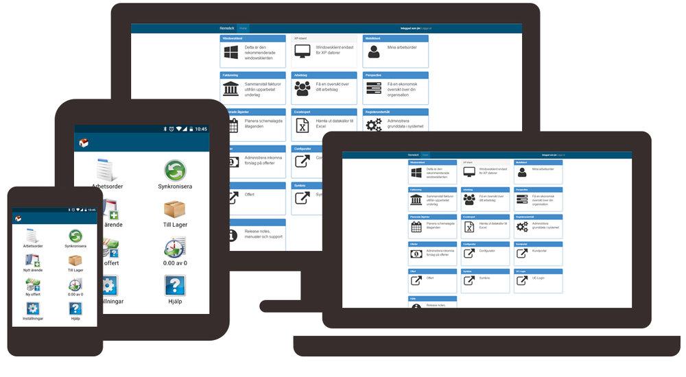 Elektroniskt arbetsordersystem för mobil, läsplatta och pc